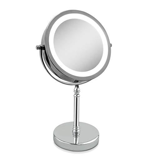 Espejo de Aumento, Aumento de sobremesa 10x 7-Pulgadas LED Espejo de Maquillaje-Doble Cara, Iluminado...