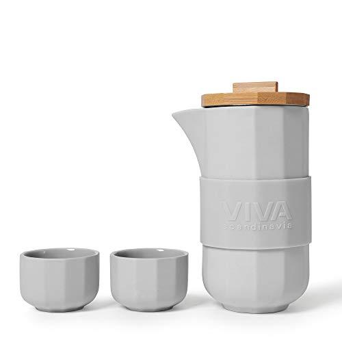 VIVA scandinavia Designer Teekanne mit 2 Teetassen im 4-teiligen-Set aus Porzellan Teekanne mit hochwertigen Bambus-Holz-Deckel