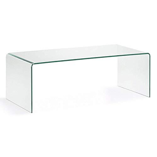 HOGAR 24 Mesa de Centro Cristal Curvado De Una Pieza. Medidas 110 x 55 x 35 cm