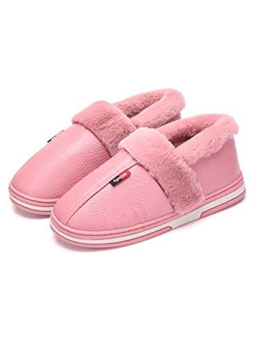 Scarpa da casa per esterno in memory foam,pantofole da casa invernali, borsa antiscivolo dal fondo morbido con scarpe in cotone @ pink_38-39,scarpe da casa in pelliccia sintetica micro scamosciata