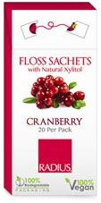 Vegane Xylitol Cranberry Zahnseide Sachets, 20 Pack - RADIUS (Zahnseide Radius,)