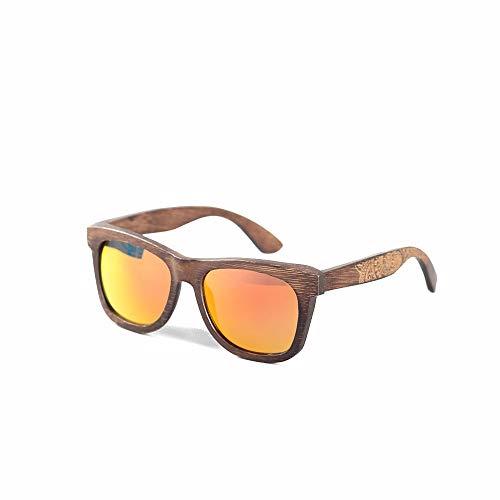 UV400 Schutz New Bamboo Fashion Personality Frame Brille Fahren polarisierten Sonnenbrillen Brille (Farbe : Red)