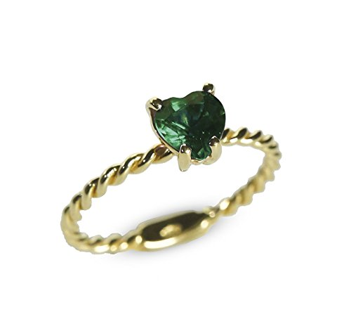 Ansuini Cordelia cuore Anello Donna oro giallo con tormalina verde pietra preziosa made in Italy