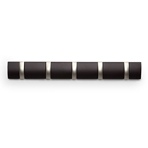 Umbra 318850-213 Flip Garderobenhakenleiste mit 5 Haken, Wandhaken, espresso, dunkel braun