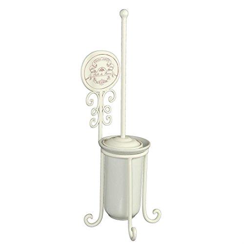 Fashionpillow -1211468- Vintage Toiletten - Stand - Bürstengarnitur | nostalgische WC - Bürstengarnitur in antikweiß im französischen Landhausstil