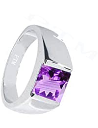 PTM Certified Natural 10.25 Ratti or 9.35 Carat Amethyst (Kathela) Astrological Gemstone BIS Hallmark 925 Sterling Silver Ring for Men & Women
