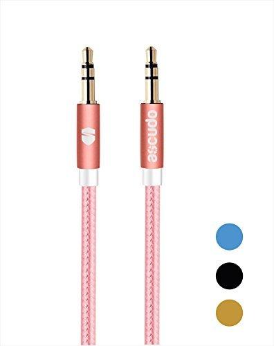 Câble Jack Audio aSCUDO 1m(3.3ft) Cable jack jack 3.5mm mâle vers mâle en Nylon - Cable Auxiliaire Stéréo pour Casque, iPod iPhone iPad, Echo Dot, Voiture, Autoradios, Smartphones, Lecteur MP3