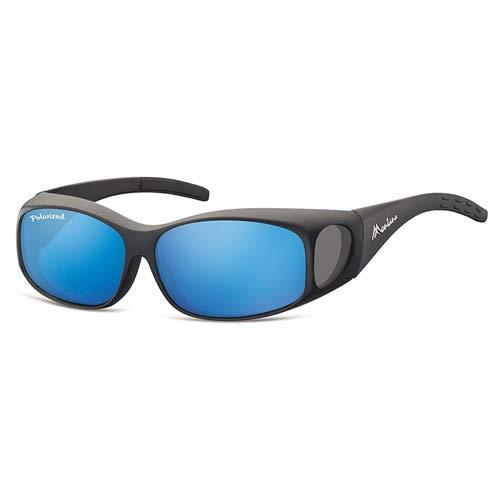 Luxus Überzieh-Sonnenbrille, mattschwarz & Revo blaue Gläser