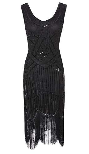 Vintage Ball Kostüm Kleider - Viloree 1920 Pailletten verschönert Quasten Falten Flapper Damen Mini Kleid Party Gastby Motto Schwarz 2XL