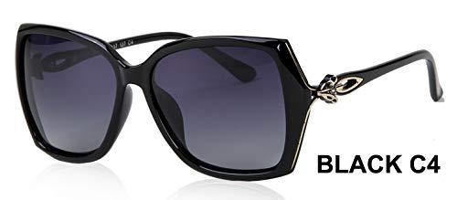 LKVNHP Fox Aussehen Design Schmetterling Kunststoff Sonnenbrille Frauen Polarisierte Retro Uv400 Mode Fahren Brillen Mujer BrilleWPGJ181 schwarz c4