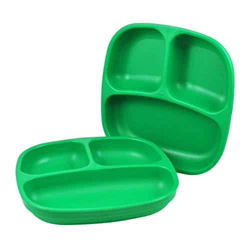 Re-Play, piatto per bambini con divisorio, set da 3 pezzi, senza BPA, stabile stoviglie per bambini, sostenibile grazie al materiale riciclato (Kelly Green, Piatto con suddivisione)