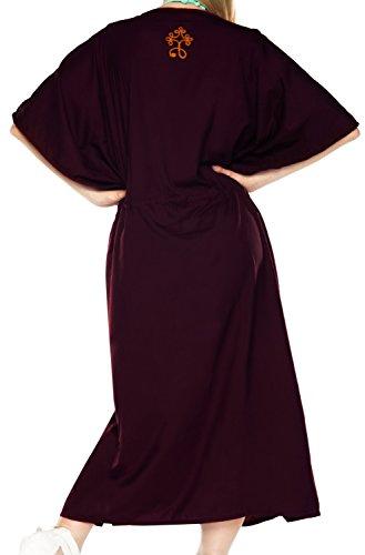 La Leela Rayon leichten tiefen Hals 5 in 1 Badeanzug Badebekleidung Bikini Strandparty verschleiern Nachtzeug beiläufiges Kleid Tunika Top-Nachtkleid kurz Kaftan Frauen bestickt Maxi Lila 1