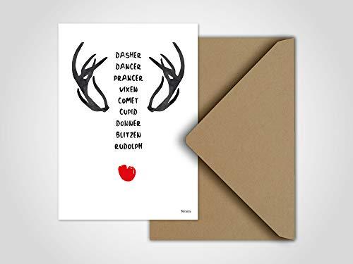 Rentiere/Weihnachtskarte, Grußkarte, Karte, Weihnachten, lustige Weihnachtstiere, Winter, Santa Claus, Schlitten, Tiere, X-Mas, Geschenk -