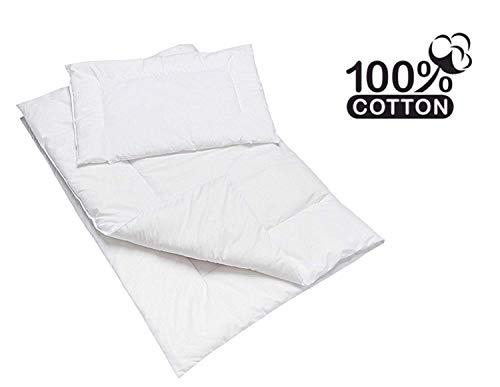 Baby Comfort Ensemble couette et oreiller pour lit bébé Matière anti-allergique Blanc 120x90cm