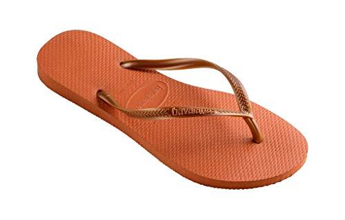 HAVAIANAS.., Unisex-Erwachsene Zehentrenner, Mehrfarbig - Slim 7185 Orange Bronze - Größe: 43 44 EU(40/41 BR)