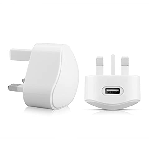 Aulola® CE Certificated TC136 White 5V 1A 3PIN Universal UK Plug USB Port AC Power Adaptor Wall Charger Dock Travel Mains Charger Compatible with Apple iPhone 6 6 Plus 5S 4S 5C 5 4 iPod Samsung Galaxy S6 S5 S4 HTC LG Sony / MP3 MP4 Player Charger
