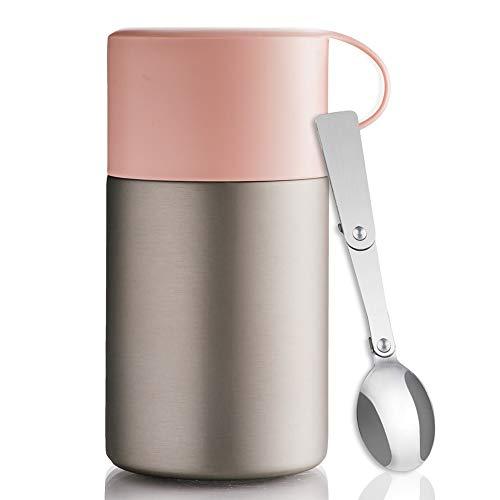 BOHORIA® WonderJar Premium Thermobehälter Lunchbox mit Löffel 600 ml   Isolierbehälter   Edelstahl   Thermo-Gefäß für Suppe, Salat, Müsli und Babynahrung   Speisebehälter Warmhaltebox Essensbox (Rose)