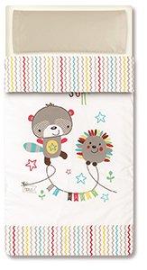 pirulos 33013510 - Sac couette Motif espin, coton, 62 x 125 cm, couleur blanc et lin