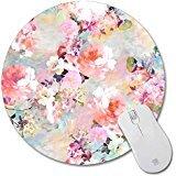 rutschhemmenden Gummi Pad Personalisierte Runde Desktop Mauspad, Bunt, Blumen Design