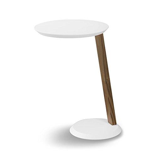 Ruby Table multifonctions rond pour soutien sur ACCOUDOIR côté canapé gain réalisé en bois laqué mat blanc pour ameublement intérieur mis.Ø cm.40 H.60