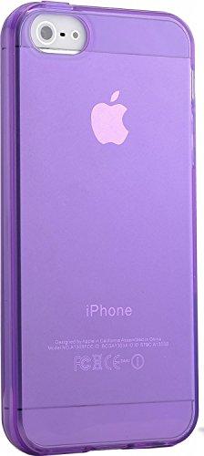 iPhone 5 hülle, iPhone se Holster hülle Flip nach oben und unten Handy hülle Premium PU Leder Tasche Flip Case Etui Handy Schutz Hülle für Apple iPhone 5 / 5s se - Rot Lila B