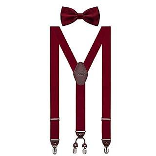 Aissy Herren Hosenträger 3.5cm Y-Form Elastisch und Längenverstellbar Hosenträger Breit mit 4 starken Clips und Fliege für Herren Damen Weinrot