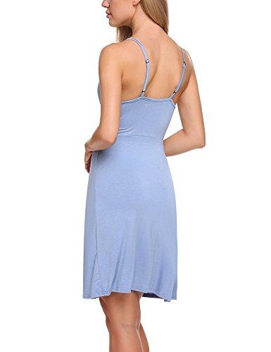Ekouaer Damen Nachthemd Negligee Nachtkleid Nachtwäsche VAusschnitt ...