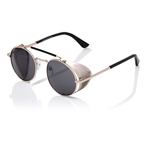 6ca0ea9f9a Ultra Oro Con Lentes Negros Gafas de Sol Steampunk Gafas Retro Mujeres  Hombres Años 50 Rave