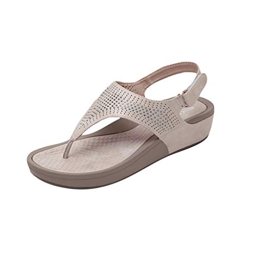 Sandalen FüR Drinnen Und DraußEnböHmische Kristall Sandalen Mit Absatz Bequeme Strandschuhe Damen Sandalen Beige 35 Square Toe Slip