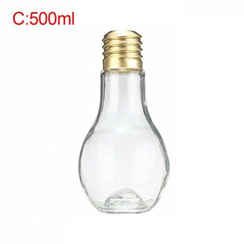 Kinder-kunststoff-wasser-flasche (4Kunststoff Wasser Flasche Leuchtmittel Form Milch Saft Jar Travel Trinkflasche für Kinder Teens, plastik, 500 ml)