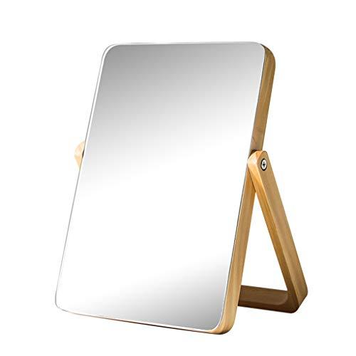 LQY Espejo de Maquillaje de Escritorio Espejo Europeo Sencillo Espejo de Madera Maciza Espejo de Mesa...