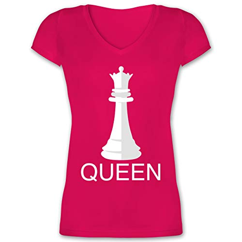 Karneval & Fasching - Queen Schachfigur Karneval Kostüm - S - Fuchsia - XO1525 - Damen T-Shirt mit V-Ausschnitt