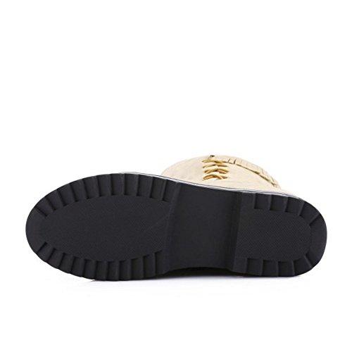 TAOFFEN Damen Mode-Event westlichen Wildleder flache Schuhe Reißverschluss und Fransen lange Ritter Stiefel mit zunehmender Höhe betuchte Beige