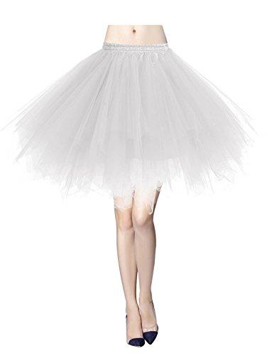Gardenwed Tutu Tüllrock Damen 50er Rockabilly Petticoat Tutu Unterrock Vintage Ballet Blase Tanzkleid Ballkleid Abendkleid Gelegenheit Zubehör White M