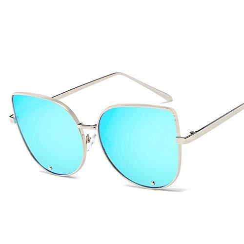 Easy Go Shopping Frauen-Weinlese-Art-runde Rahmen-Metallbein-UV400 Objektiv-Katzenauge-Sonnenbrille für Sonnenbrillen und Flacher Spiegel (Color : Blau, Size : Kostenlos)