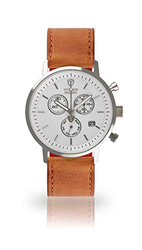 DETOMASO Milano Mens Watch Chronograph Analogue Quartz Brown Leather Strap White dial DT1052-B-821