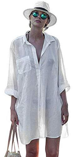 Ho Mall Frauen Sommer Spitzenbluse Tops Strand Badeanzug Abdeckung Pareos Cardigan Strand Bikini Cover Up Strand Poncho (Weiß, Einheitsgröße)