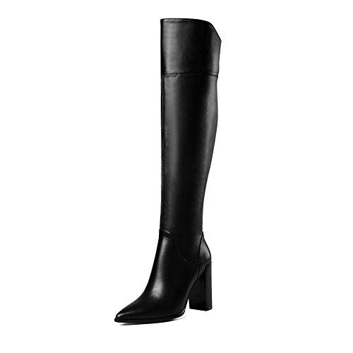 Seite Spitze Knie Stiefel (THk&M Weibliche stiefel Dicke 9 cm wies hohe Rohr 34-39 Zweifarbige spitze Seite mit seitlichem Reißverschluss, schwarz, 36)