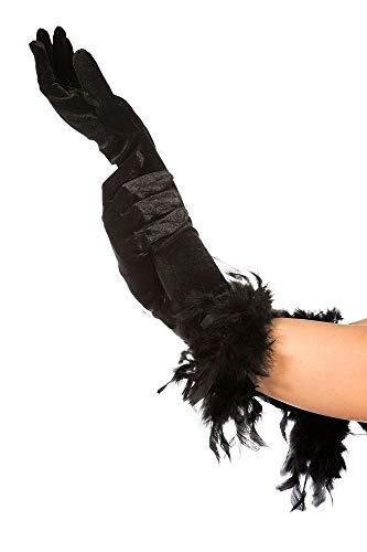 huhe mit Federn lang Damen Kostüm-Zubehör Halloween Rabe Vogel Black Swan Gothic Flapper 20er Boa ()
