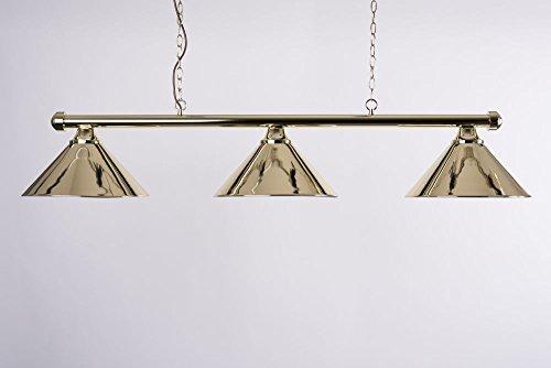 Cuel Billardlampe, messingfarben mit messingfarbenen Schirmen, 147 cm, für Billardtische bis 9 Fuß, Schirmdurchmesser 36 cm (9 Fuß Billardtisch)