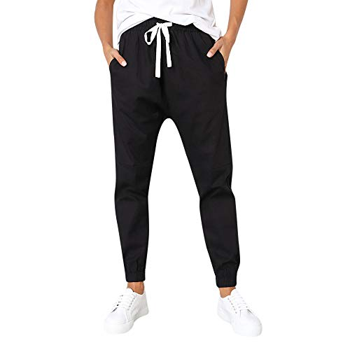 n 2019, ❤️ Zolimx Solid Straight Leg Hosen Lässige Damengürtelbinde Mid Waist Hosen ()