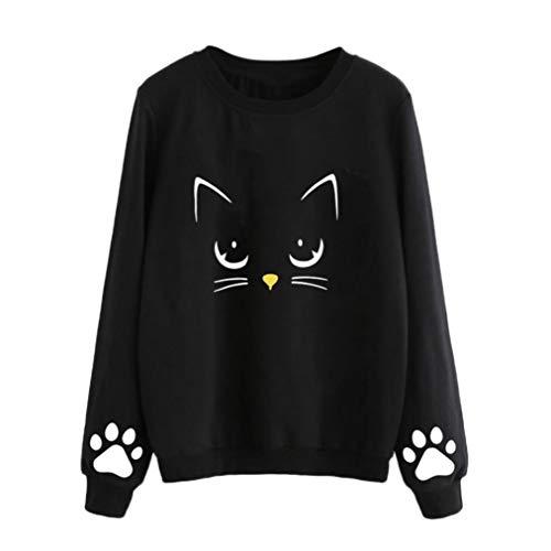 Camiseta de Manga Larga,Beikoard Las Mujeres de Otoño y el Invierno Gato Weater Cuello Redondo Manga Larga Blusa Regular