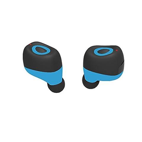 Wireless Bluetooth Headphone Earbuds Q17 Mini Wireless Bluetooth Kopfhörer Sport Headsets Zwillinge Noise Cancelling Stereo Headsets Sweatproof mit HD für Smartphones(Blue)