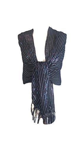 Preisvergleich Produktbild Umwerfend & Elegant Damen-frauen Mädchen Glitzer Stola Schal Bedeckung Wickel Pashmina Schwarz/Silber Weihnachtsgeschenk Partykleidung