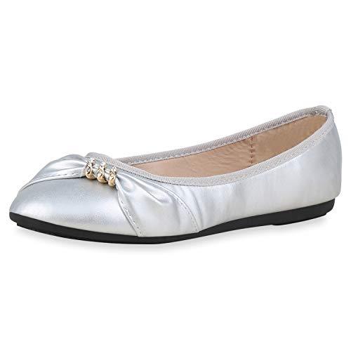 SCARPE VITA Damen Klassische Ballerinas Elegante Abendschuhe Flats Strass 176534 Silber 36