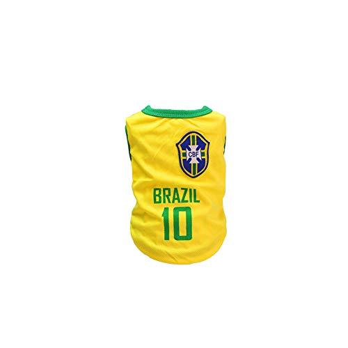 Land Katze Kostüm - song rong Brasilianische Fußball-Team-10 Jersey Hunde Shirts Hundekleidung Pet Westen mit den Ländern Logo, vorbereitet für den Sport Fan, Geeignet für Haustiere Kostüm für Hunde, Katzen, L