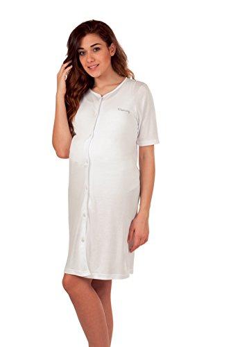 Premamy Camicia Clinica per Premaman Modello Aperto Davanti Cotone Jersey Pre Post Parto Bianco III