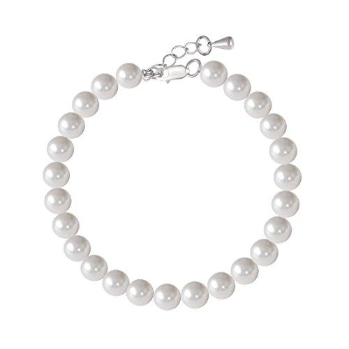 'Ishow Durchmesser 0,8cm * 25weiß Shell Pearl & 925Silber Schnalle und Kupfer Schwanz Kette Armband Geschenk-Box - Silber Armband Lehrer