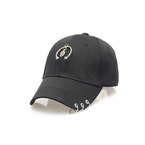 Kostüm Ring Boxer Mädchen - zlhcich Stahl Ring Kragen Streamer Hut Paar Kappe Mode Hoop Baseball Cap halbkreis Smiley DREI Ring + Hut schwarz JX525 einstellbar