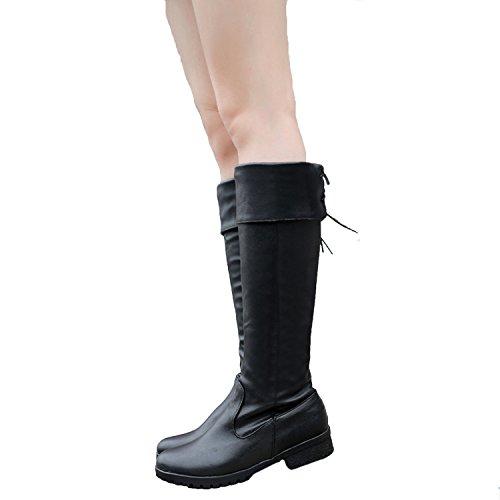 Nonbrand Damen Hochferse synthetischer Kniehohe Stiefel Schwarz